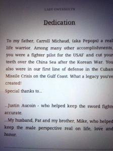Book dedication to J.M. Aucoin