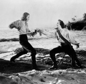 Errol Flynn and Basil Rathbone in Captain Blood
